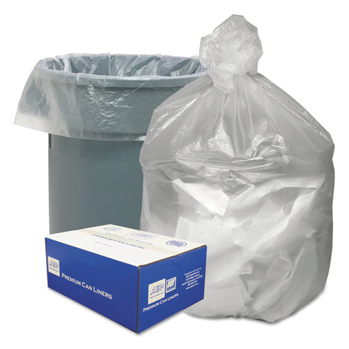"Waste Can Liners, 33 gal, 9 microns, 33"" x 39"", Natural, 500/Carton"