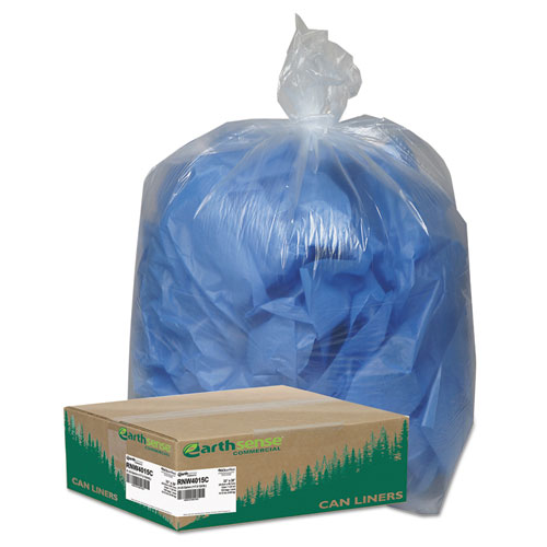 """Earthsense® Commercial Linear Low Density Clear Recycled Can Liners, 33 gal, 1.25 mil, 33"""" x 39"""", Clear, 100/Carton"""
