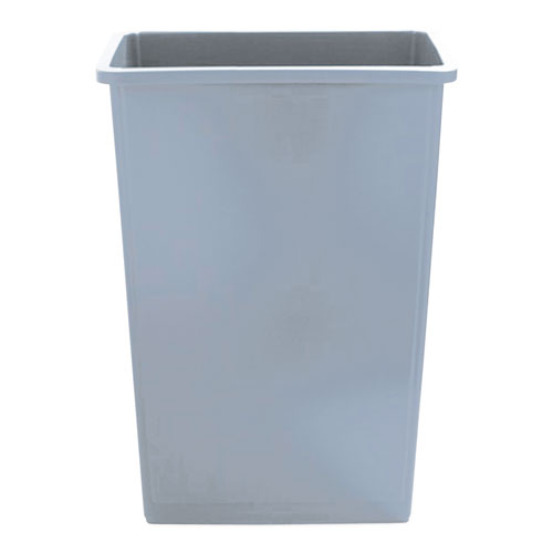 Slim Waste Container, 23 gal, Gray, Plastic