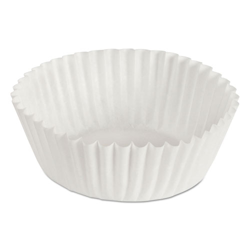 Fluted Bake Cups, 1 1/8in. x 1 1/8in. x 1 3/4in., White, 500/Pack, 20 Packs/Carton 610020
