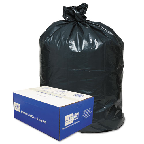 "Classic Linear Low-Density Can Liners, 56 gal, 0.9 mil, 43"" x 47"", Black, 100/Carton"