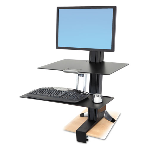 WorkFit-S Sit-Stand Workstation with Worksurface, Single 30 LCD, 29.5, Polished Aluminum/Black