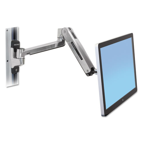 LX HD Sit-Stand Wall Mount LCD Arm, Polished Aluminum/Black
