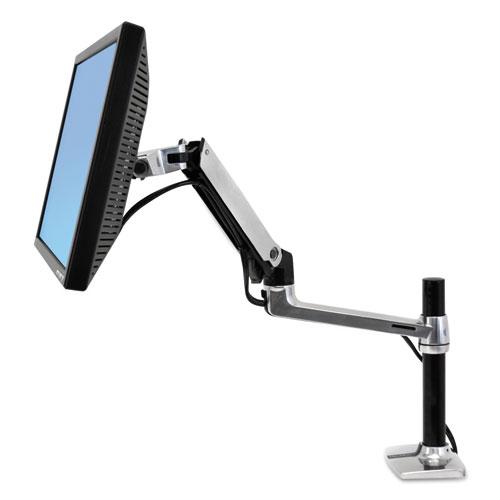 Ergotron® LX Series LCD Arm, Desk Mount with Tall Pole, Polished Aluminum/Black