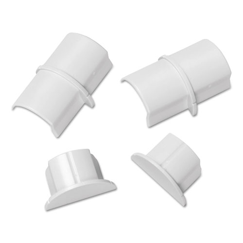 D-Line® Smooth Fit Connector and End Cap Pack, White, 2 Connectors, 2 Endcaps per Pack