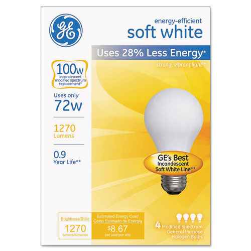Halogen Bulb, Globe, 72 Watts, Soft White, 4/Pack