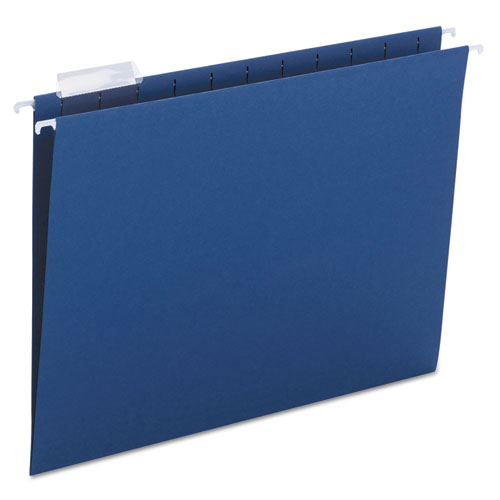 Colored Hanging File Folders, Letter Size, 1/5-Cut Tab, Navy, 25/Box | by Plexsupply