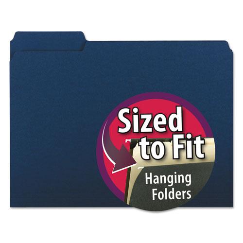 Interior File Folders, 1/3-Cut Tabs, Letter Size, Navy Blue, 100/Box