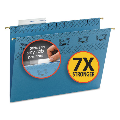 Tuff Hanging Folder with Easy Slide Tab, Letter, Blue, 18/Pack 64041