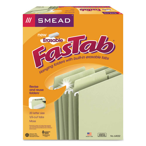 Erasable FasTab Hanging Folders, Letter Size, 1/3-Cut Tab, Moss, 20/Box