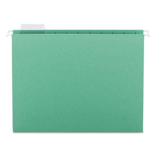 Colored Hanging File Folders, Letter Size, 1/5-Cut Tab, Green, 25/Box | by Plexsupply