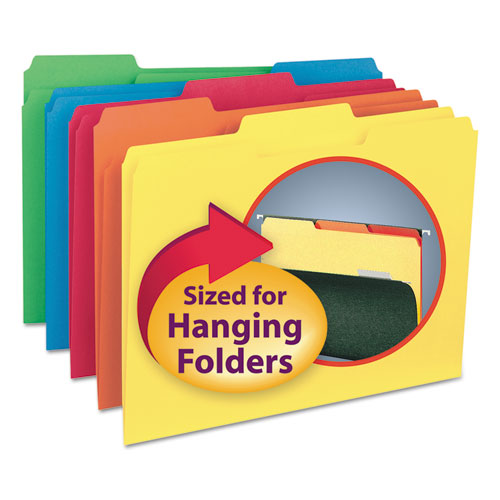 Interior File Folders, 1/3-Cut Tabs, Letter Size, Assorted, 100/Box