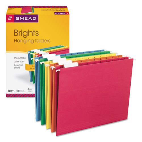 Colored Hanging File Folders, Letter Size, 1/5-Cut Tab, Assorted, 25/Box | by Plexsupply