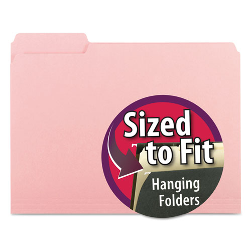 Interior File Folders, 1/3-Cut Tabs, Letter Size, Pink, 100/Box