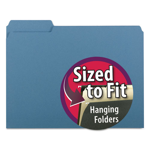 Interior File Folders, 1/3-Cut Tabs, Letter Size, Blue, 100/Box