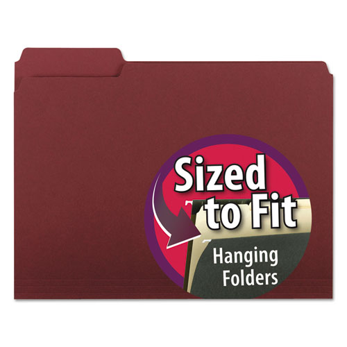 Interior File Folders, 1/3-Cut Tabs, Letter Size, Maroon, 100/Box