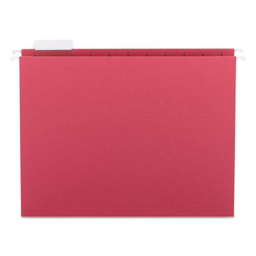 Colored Hanging File Folders, Letter Size, 1/5-Cut Tab, Red, 25/Box | by Plexsupply