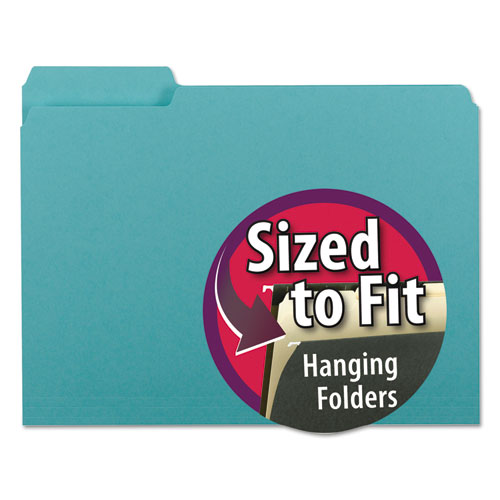 Interior File Folders, 1/3-Cut Tabs, Letter Size, Aqua, 100/Box