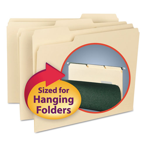 Interior File Folders, 1/3-Cut Tabs, Letter Size, Manila, 100/Box | by Plexsupply