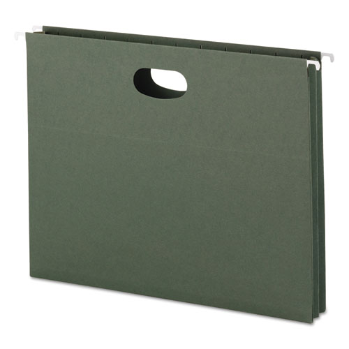 Hanging Pockets with Full-Height Gusset, Letter Size, Straight Tab, Standard Green, 25/Box | by Plexsupply