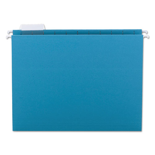 Colored Hanging File Folders, Letter Size, 1/5-Cut Tab, Teal, 25/Box | by Plexsupply