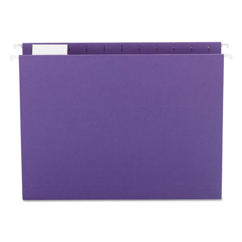 Colored Hanging File Folders, Letter Size, 1/5-Cut Tab, Purple, 25/Box | by Plexsupply