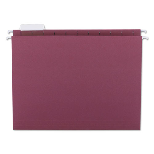 Colored Hanging File Folders, Letter Size, 1/5-Cut Tab, Maroon, 25/Box | by Plexsupply