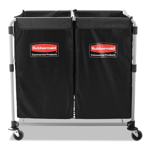 Collapsible X-Cart, Steel, 2 to 4 Bushel Cart, 24.1w x 35.7d x 34h, Black/Silver