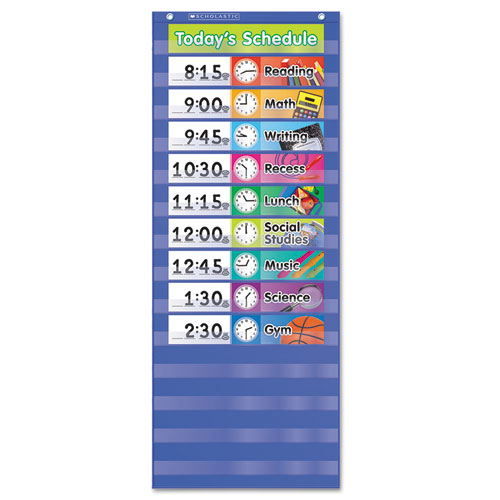 Daily Schedule Pocket Chart, 13 x 33, Blue/Clear | by Plexsupply