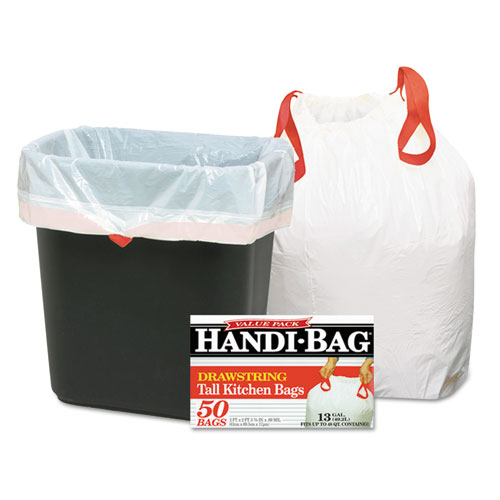 "Handi-Bag® Drawstring Kitchen Bags, 13 gal, 0.6 mil, 24"" x 27.38"", White, 50/Box"