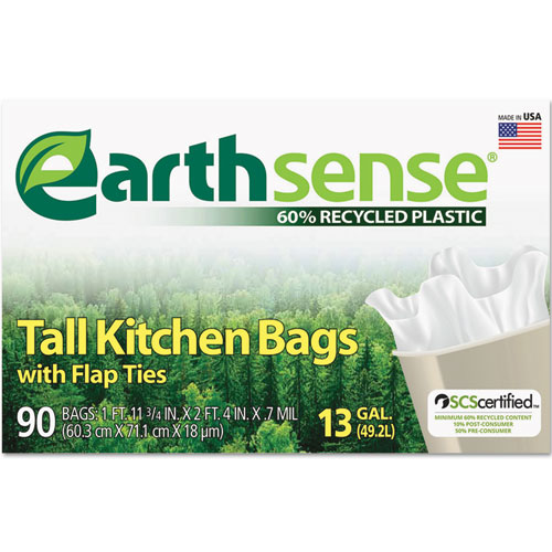 "Earthsense® Recycled Can Liners, 13 gal, 0.7 mil, 23.75"" x 28"", White, 90/Box"