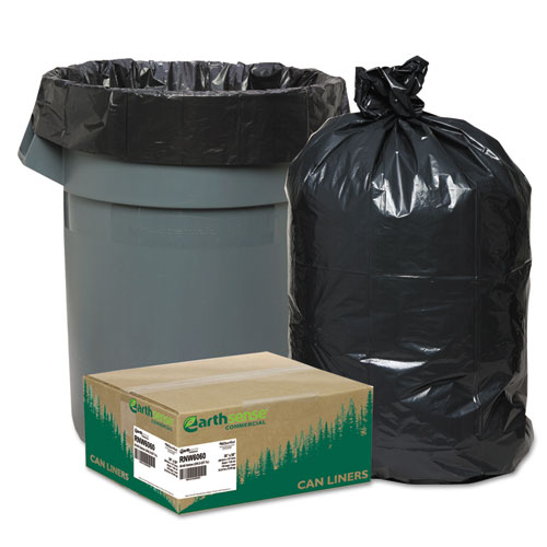 """Earthsense® Commercial Linear Low Density Recycled Can Liners, 60 gal, 1.65 mil, 38"""" x 58"""", Black, 100/Carton"""