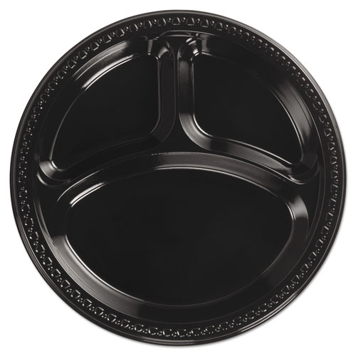 "Heavyweight Plastic 3 Compartment Plates, 10 1/4"" Dia, Black, 125/PK, 4 Packs/CT 
