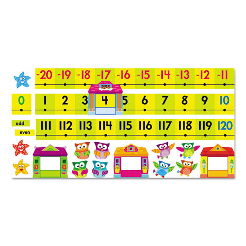 TREND® Owl-Stars! Number Line Bulletin Board Set, 40 ft, 49 Pieces