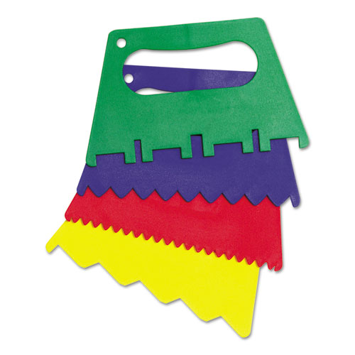 Plastic Paint Scrapers, 5in.W, Green/Blue/Red/Yellow, 4 Scrapers/Set 5185