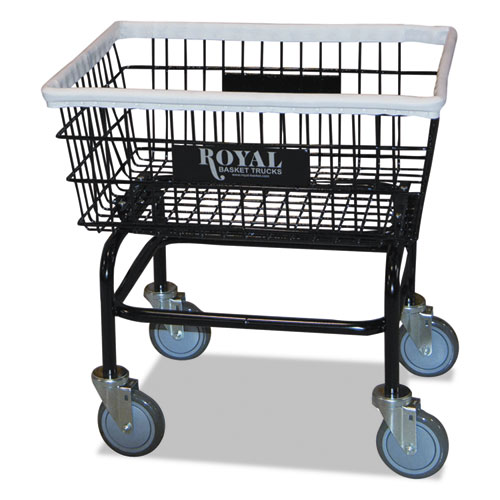 Small Wire Laundry Cart, 26w x 10.75d x 26.5h, 400-lb Capacity, Black