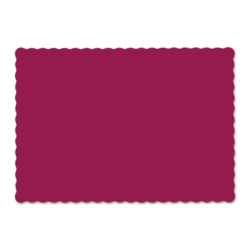Solid Color Scalloped Edge Placemats, 9.5 x 13.5, Burgundy, 1,000/Carton | by Plexsupply