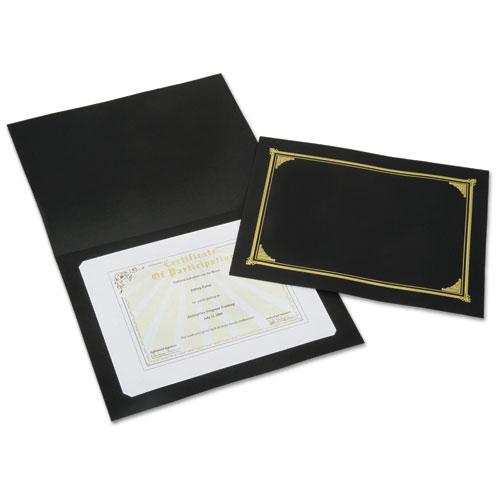 7510015195770 SKILCRAFT Gold Foil Document Cover, 12 1/2 x 9 3/4, Black, 5/Pack