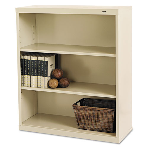 Metal Bookcase, Three-Shelf, 34-1/2w x 13-1/2d x 40h, Putty | by Plexsupply