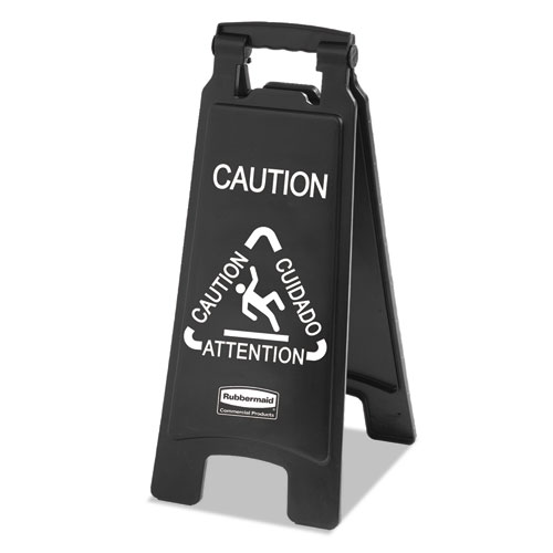 Rubbermaid® Commercial Executive 2-Sided Multi-Lingual Caution Sign, Black/White, 10 9/10 x 26 1/10