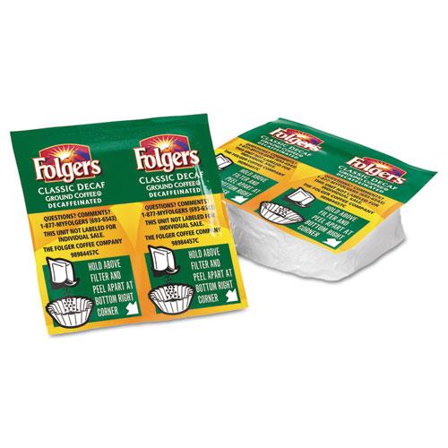 Folgers® Coffee, Classic Roast Decaffeinated, 9/10oz Vacket Pack, 42/Carton