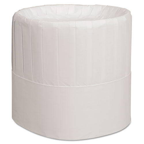 Pleated Chefs Hats, Paper, White, Adjustable, 7 in. Tall, 28/Carton