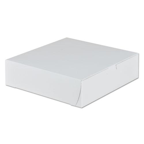 Tuck-Top Bakery Boxes, 9w x 9d x 2 1/2h, White, 250/Carton