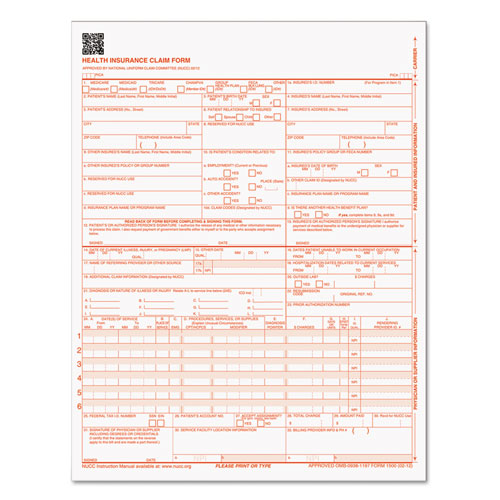 Centers for Medicare and Medicaid Services Claim Forms, CMS1500/HCFA1500, 8 1/2 x 11, 250 Forms/Pack
