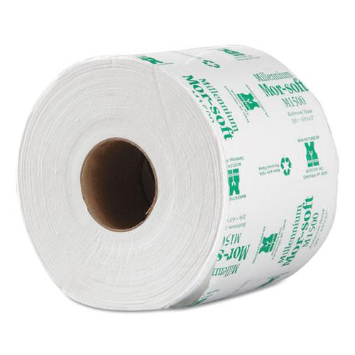"Morcon Paper Morsoft Millennium Bath Tissue, Septic Safe, 1-Ply, White, 3.9"" x 4"", 1500 Sheets/Roll, 48 Rolls/Carton"