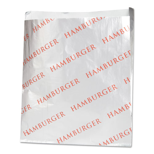 Foil Single-Serve Bags, 6 x 6.5, Silver, Hamburger Design, 1,000/Carton