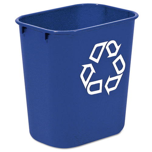 Rubbermaid® Commercial Small Deskside Recycling Container, Rectangular, Plastic, 13.625qt, Blue