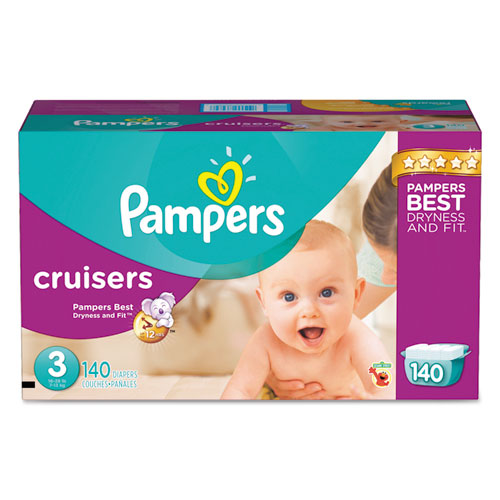 Pampers® Cruisers Diapers, Size 4: 22 - 37 lbs, 124/Carton