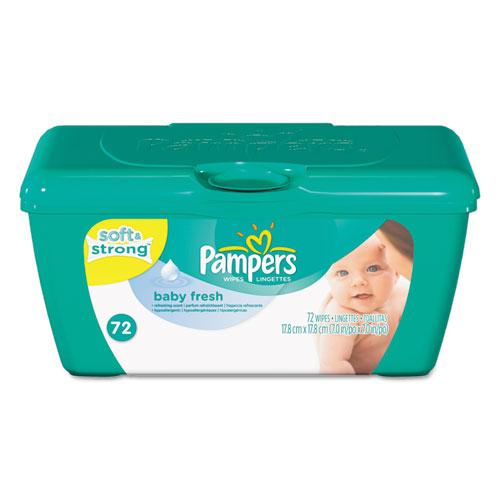 Baby Fresh Wipes, White, Cotton, 72/Tub
