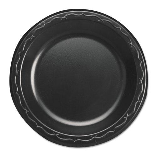 """Genpak® Elite Laminated Foam Dinnerware, Plate, 6"""" dia, Black,125/Pack, 8 Pack/Carton"""